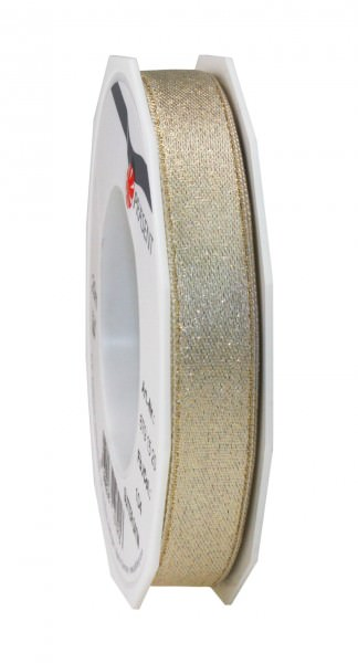 Partytischdecke.de | Satinband Glitter 15 mm x 20 m creme-gold