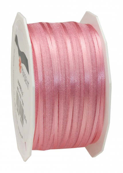 Satin-Organza Band 10 mm x 50 m rosé 1 Rolle