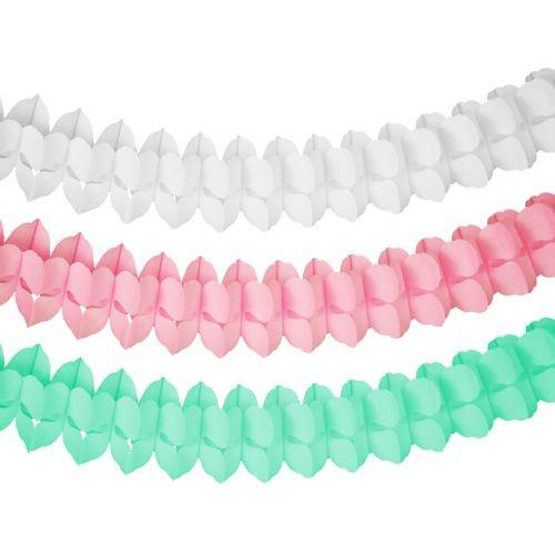 Girlande Ø 16 cm x 3,65 m Pastel mint-rosa-weiss 3er Set