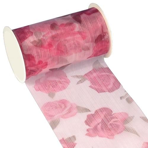 Partytischdecke.de | Tischband Textill 11 cm x 5 m rosa Roses