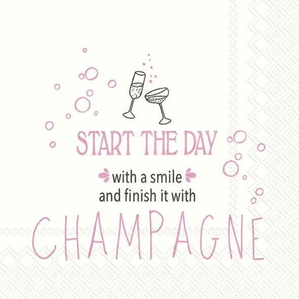 Partytischdecke.de | IHR Cocktail Serviette START THE DAY WITH A SMILE Rosa