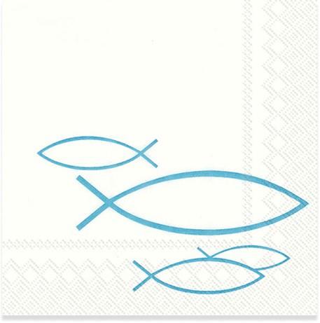 Partytischdecke.de | Servietten 25 x 25 PEACEFUL FISH türkis