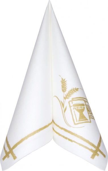 Serviette Mank Linclass 40x40 Kommunion/Konfirmation weiss-gold 50 Stück