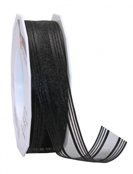 Partytischdecke.de | Satin-Organza Band PALMA 25 mm x 25 m schwarz
