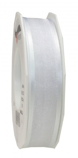 Satin-Organza Band 25 mm x 25 m weiss 1 Rolle
