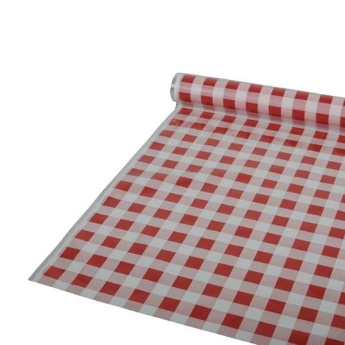 Partytischdecke.de | Folientischdecke 0,8 x 50 m Karo rot
