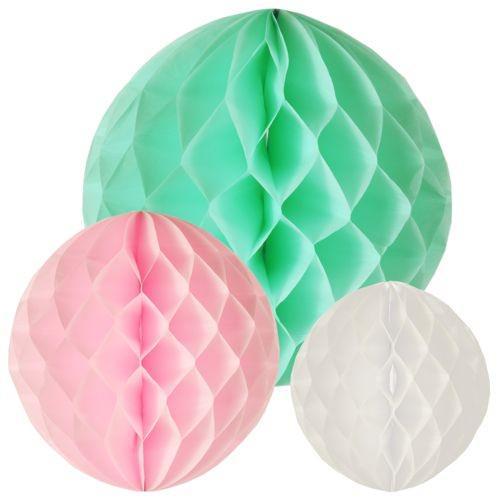 Wabenbälle Ø 20 / 25 / 30 cm Pastel mint-rosa-weiss 3x 3er Set