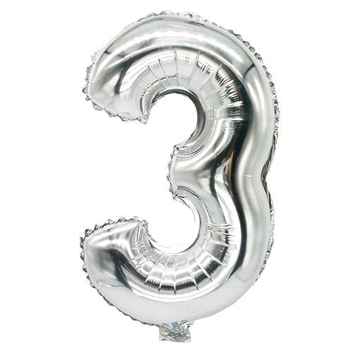 Partytischdecke.de | Folienluftballon 35 cm x 20 cm silber DREI