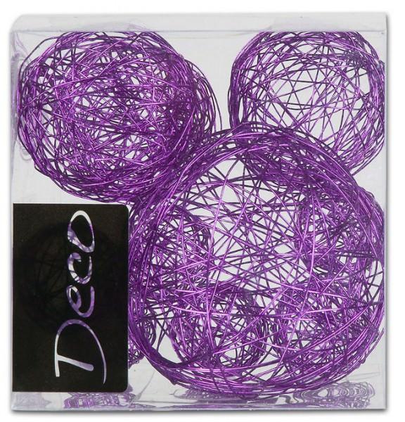 Partytischdecke.de | Drahtbälle Set 10 tlg. violet in Klarsichtbox