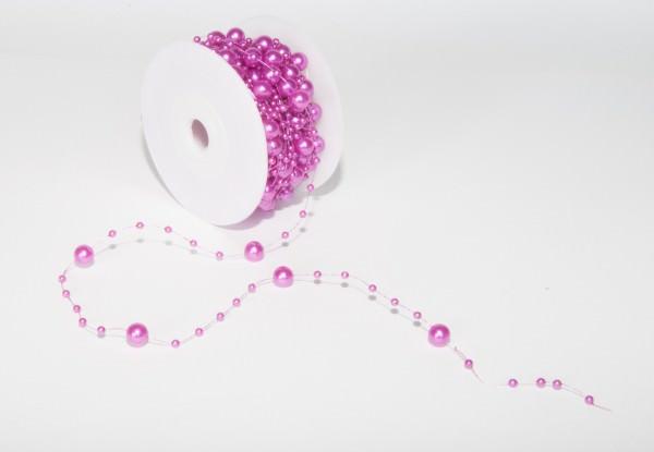 Perlenband 8 mm x 10 m darkfuchsia 1 Rolle