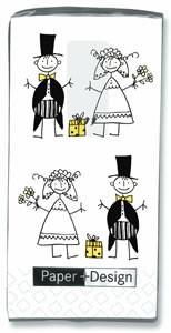 Motiv Taschentücher Päckchen Just Married 10 Stück