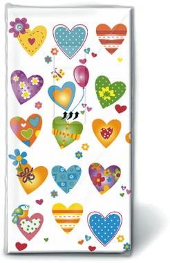 Motiv Taschentücher Päckchen Colourful hearts 10 Stück
