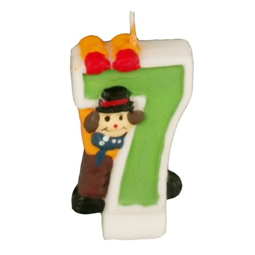 Partytischdecke.de | Zahlenkerze 8 cm | 7 | Clown 1 Stück