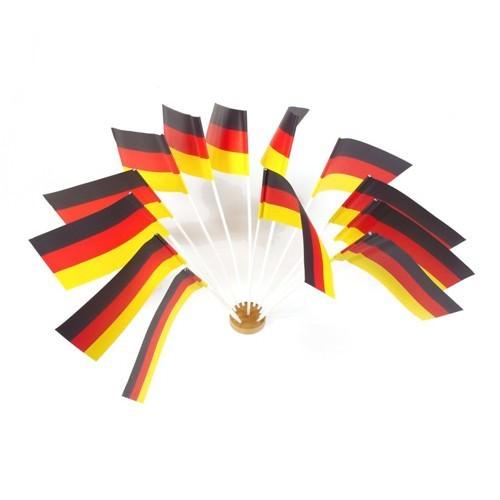 Partytischdecke.de | Deutschlandfähnchen Papier 12 cm x 22 cm 10 Stück