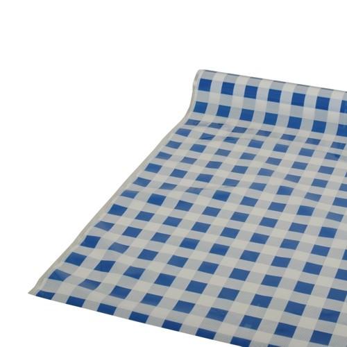 Partytischdecke.de | Folientischdecke 0,8 x 50 m Karo blau
