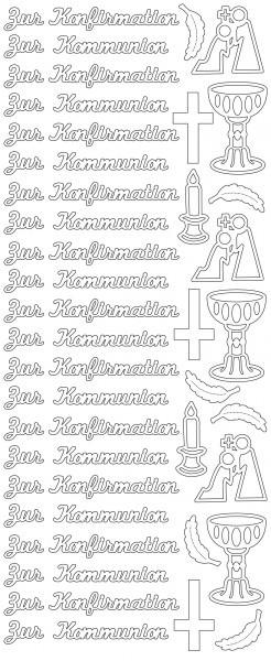 Partytischdecke.de | Stickerbogen Zur Kommunion 1 silber 1 Stück