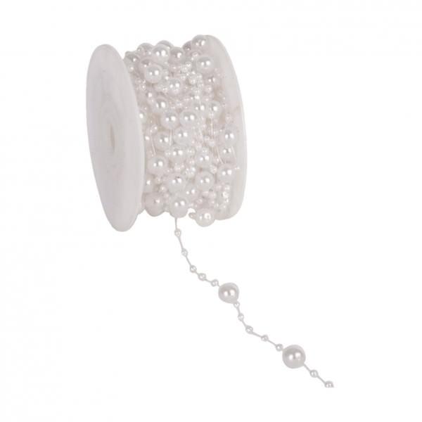 Partytischdecke.de | Perlenband 8 mm x 10 m weiss 1 Rolle