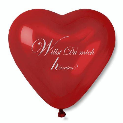 Partytischdecke.de | Luftballon, Maxi rot Herz mit Heiratsantrag + Ersatzballon