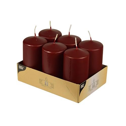 Stumpenkerzen Ø 6 x 11,5 bordeaux 6er Pack