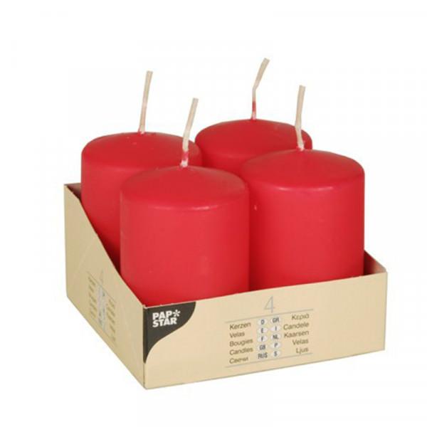 Partytischdecke.de | Stumpenkerzen Ø 5 x 8 rot 4er Pack