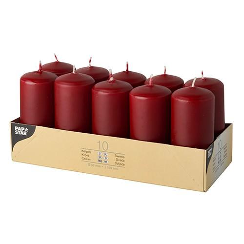 Partytischdecke.de | Stumpenkerzen Ø 4 x 9 Bordeaux 10er Pack