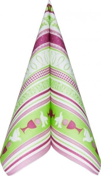 Serviette Mank Linclass 40x40 Kommunion/Konfirmation pink-grün 50 Stück