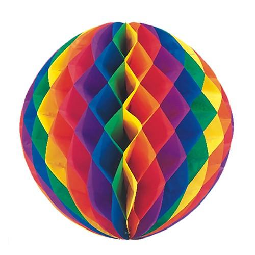 Wabenball aus Papier Ø 60 Regenbogen schwer entflammbar 1 Stück