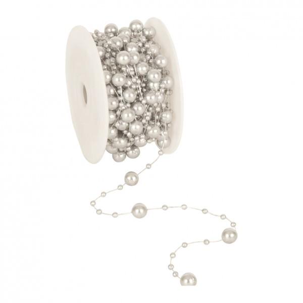Partytischdecke.de | Perlenband 8 mm x 10 m silber 1 Rolle