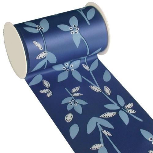 Partytischdecke.de | Tischband Textill 11 cm x 3 m blau Leaves