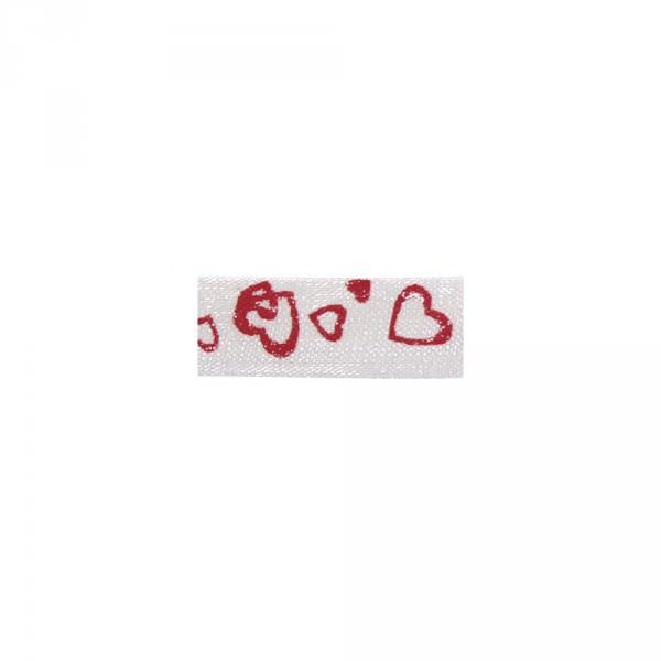 Partytischdecke.de | Organzaband weiss mit Herzen rot 10 mm x 10 m Rolle