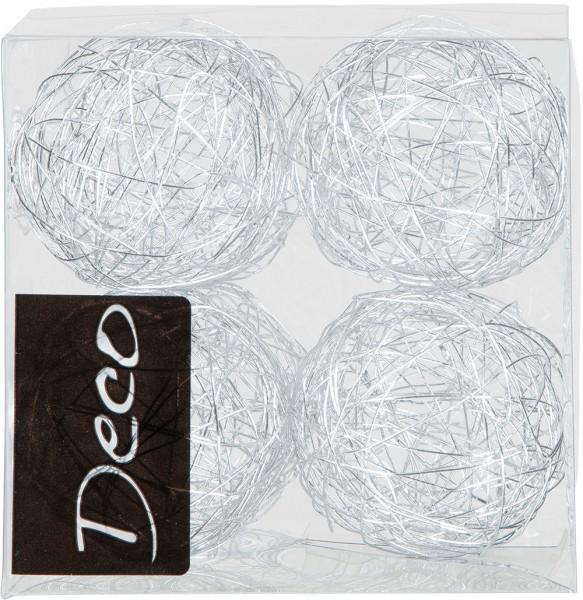 Drahtbälle 50 mm silber in Klarsichtbox 8 Stück