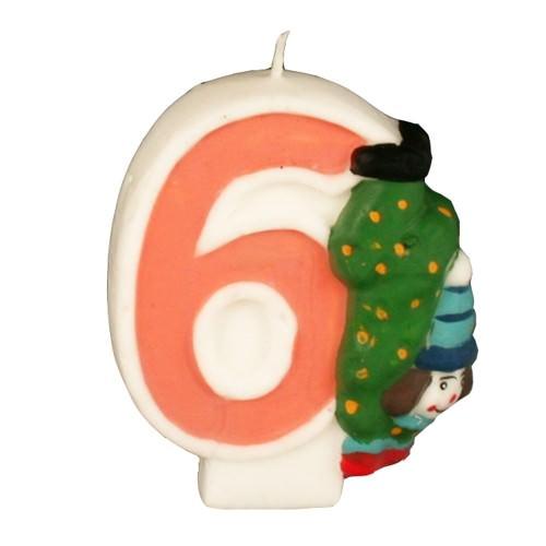 Partytischdecke.de | Zahlenkerze 8 cm  | 6 |  Clown 1 Stück