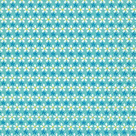 Partytischdecke.de | Serviette 33x33 mini Blüten türkis