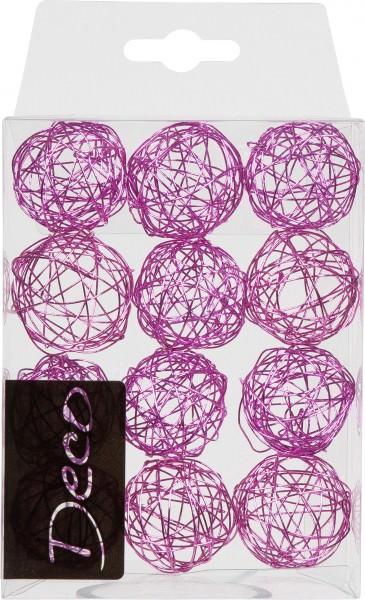 Drahtbälle 30 mm fuchsia in Klarsichtbox 12 Stück
