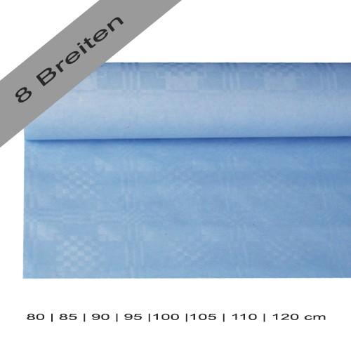 Partytischdecke.de | Papiertischdecke Damastprägung 8 lfm hellblau