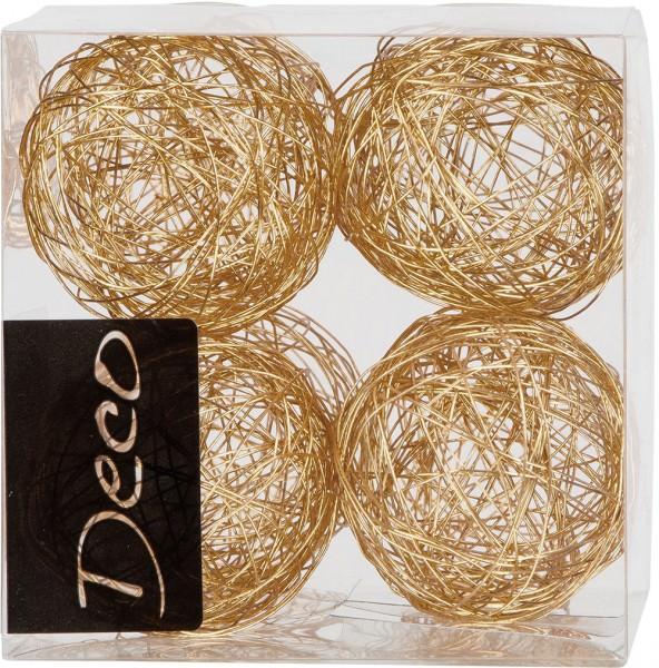 Drahtbälle 50 mm gold in Klarsichtbox 8 Stück