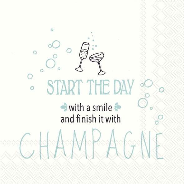 Partytischdecke.de | IHR Cocktail Serviette START THE DAY WITH A SMILE Mint