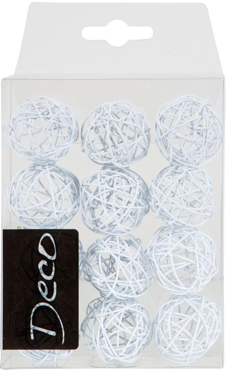 Drahtbälle 30 mm weiß in Klarsichtbox 12 Stück