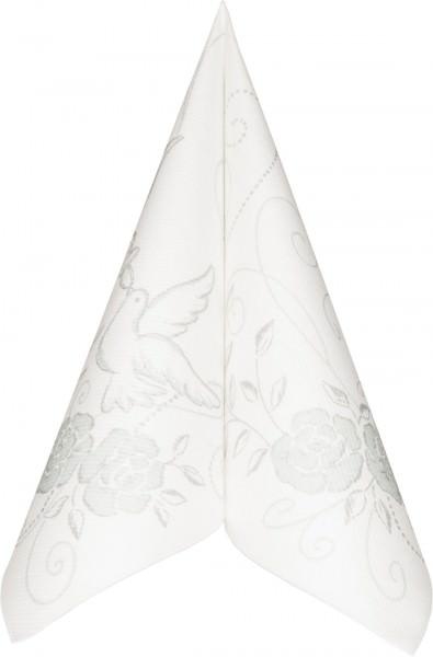 Serviette Mank Linclass Hochzeit silber-grau 40x40 50 Stück