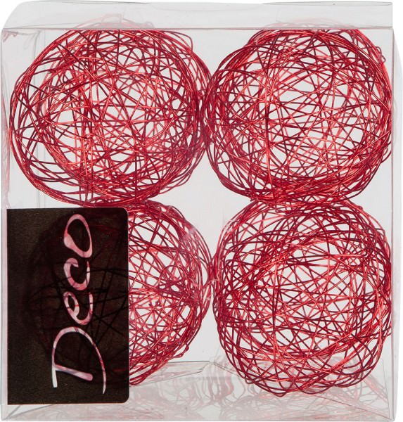 Drahtbälle 50 mm rot in Klarsichtbox 8 Stück
