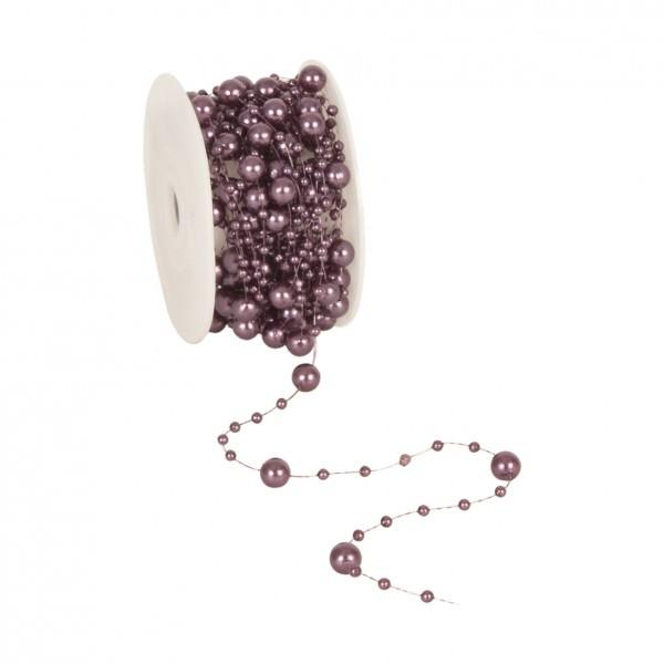 Partytischdecke.de | Perlenband 8 mm x 10 m aubergine 1 Rolle