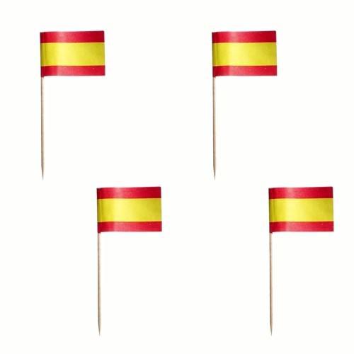 Partytischdecke.de | Deko-Picker 8 cm rot-gelb-rot Spain 500 Stück