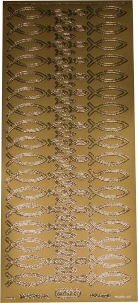 Stickerbogen Fisch gold 1 Stück