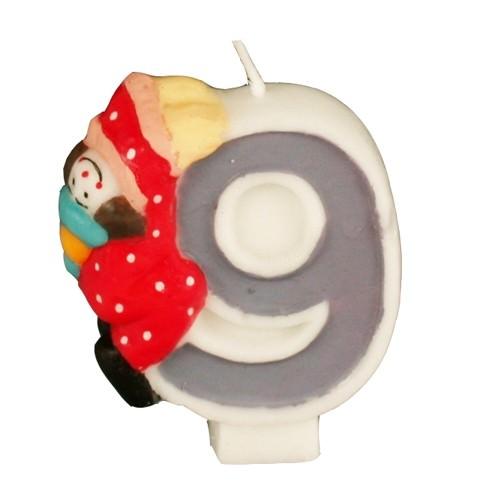Partytischdecke.de | Zahlenkerze 8 cm | 9 | Clown 1 Stück