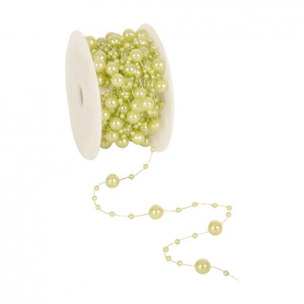 Partytischdecke.de | Perlenband 8 mm x 10 m hellgrün 1 Rolle