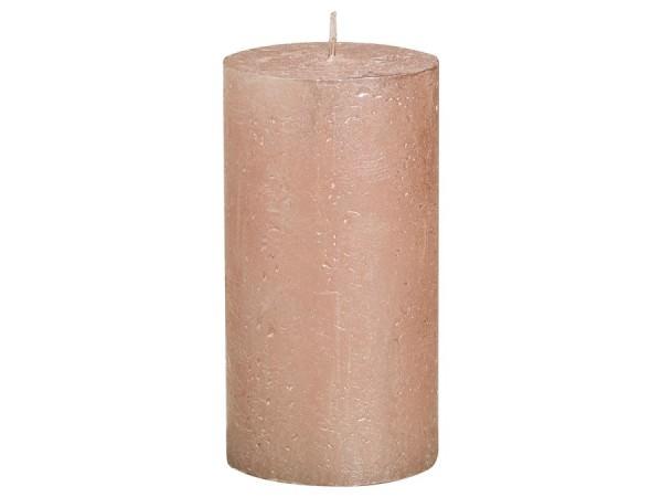 Partytischdecke.de | Kerze Bolsius Rustic Ø 6,8 x 13 cm Metalic roségold