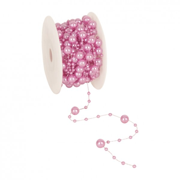 Partytischdecke.de | Perlenband 8 mm x 10 m pink 1 Rolle
