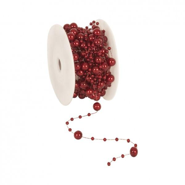 Partytischdecke.de | Perlenband 8 mm x 10 m bordeaux 1 Rolle