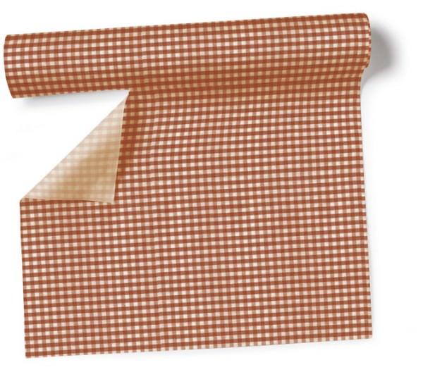 Partytischdecke.de   Tischläufer 40 cm x 3,60 m Vichy brown