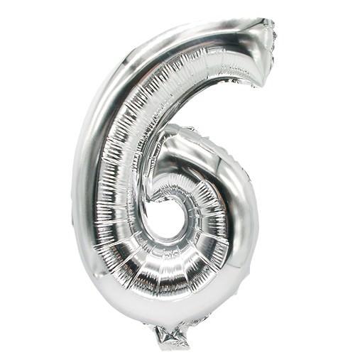 Partytischdecke.de   Folienluftballon 35 cm x 20 cm silber SECHS